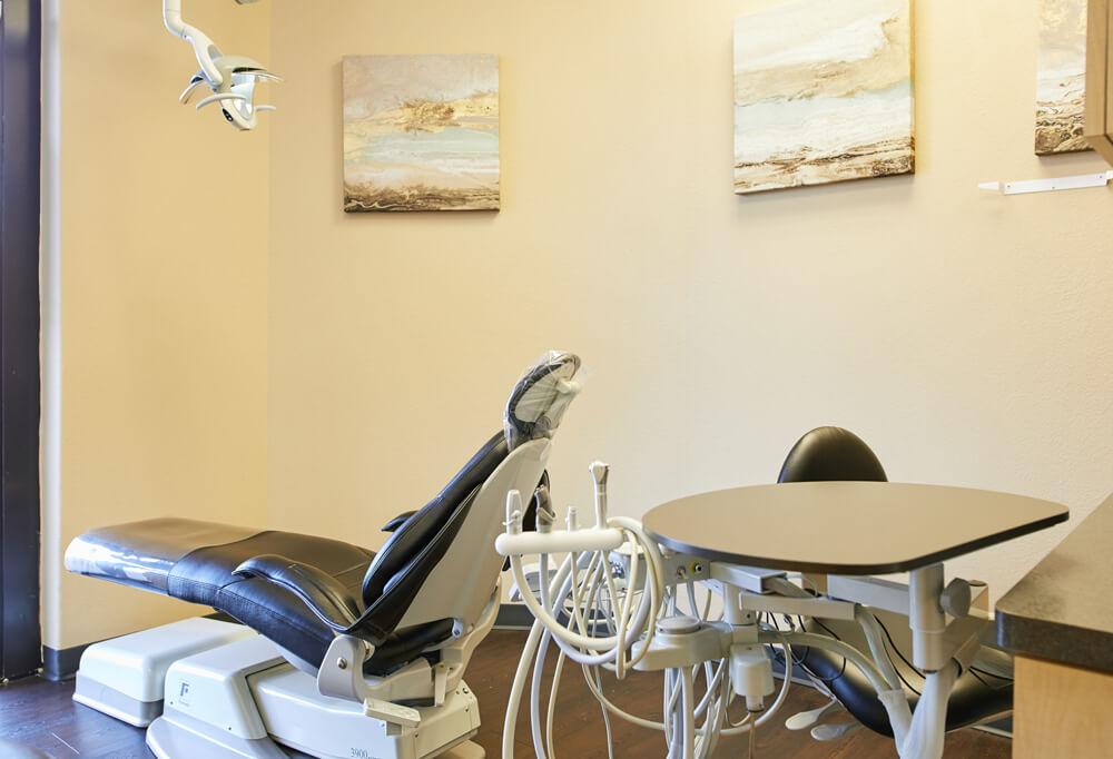 Dental Op Dental exam chair inside Prestige Family Dentistry in Flower Mound, TX