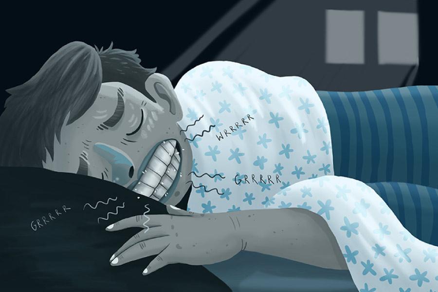 Cartoon of boy grinding his teeth while sleeping